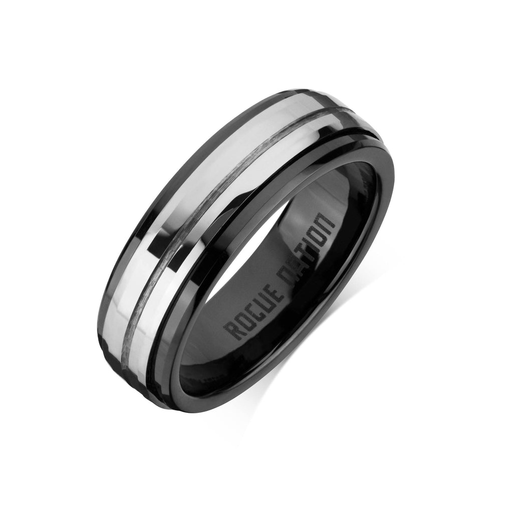 "Tungsten Carbide Mens Rings - Polished Men's Wedding Ring, 6.5mm Grooved Tungsten, Comfort Fit Band - ""KIAN"""