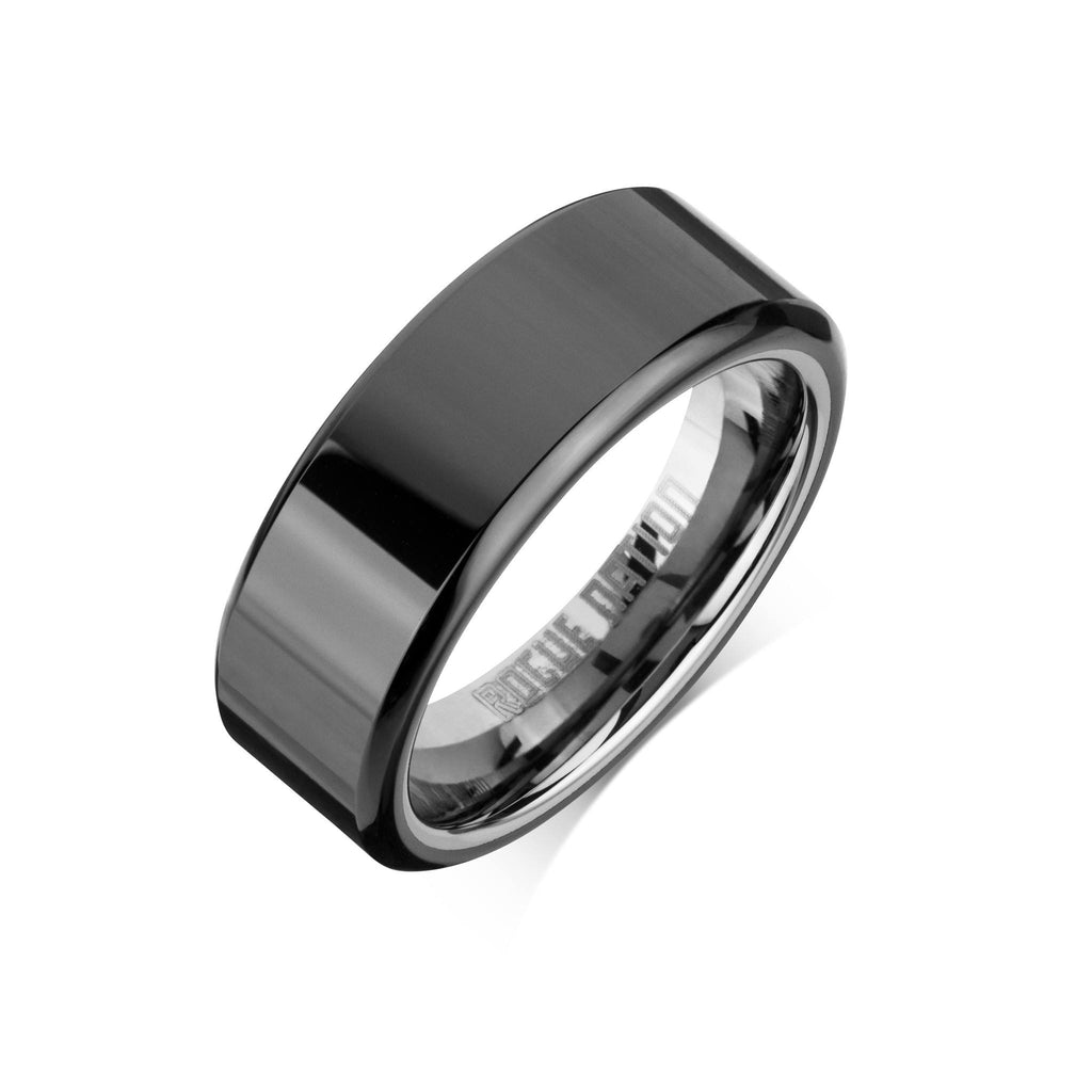 "Tungsten Carbide Mens Rings - Black Men's Ring, 8mm Flat Tungsten, Comfort Fit Band - ""MARLEY"""