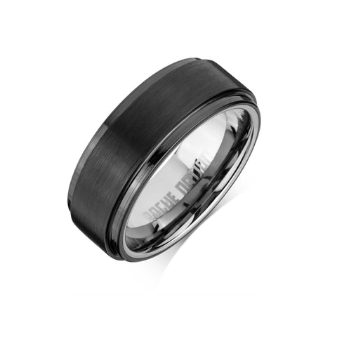 "Tungsten Carbide Mens Rings - Black Men's Ring, 8mm Stepped Tungsten, Comfort Fit Band - ""MAXIMUS"""