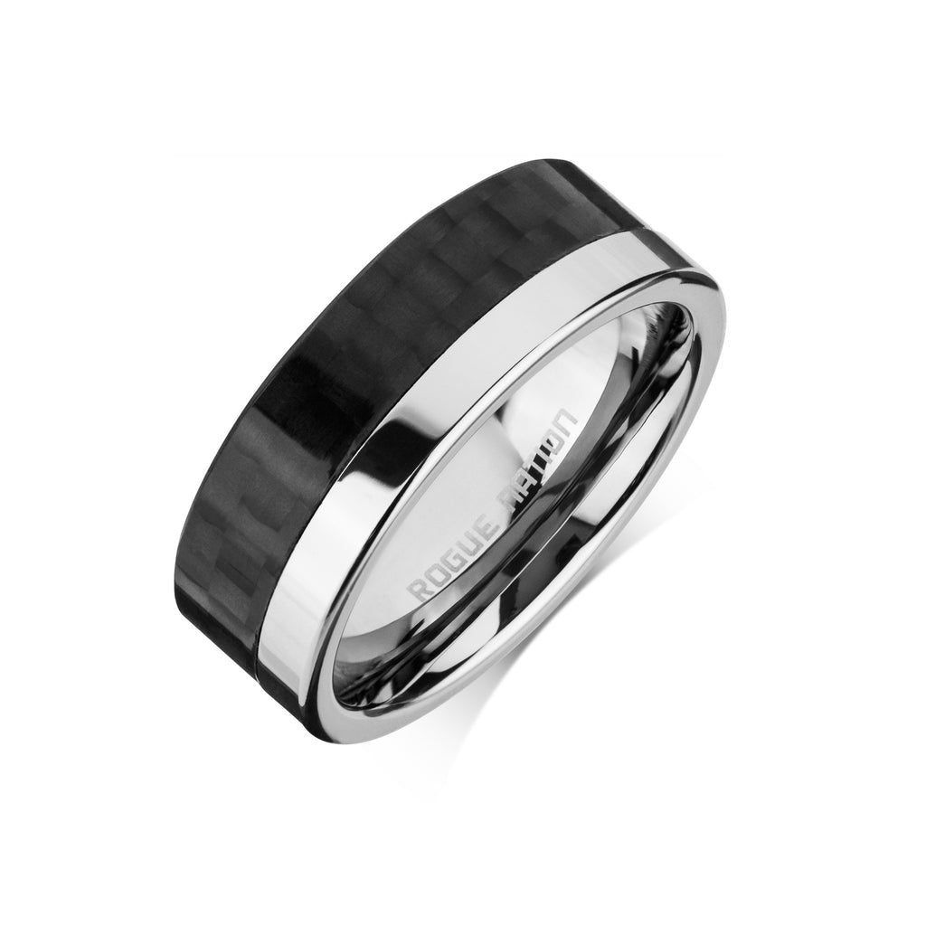 "Tungsten Carbide Mens Rings - Carbon Fiber Men's Ring, 8mm Flat Tungsten, Comfort Fit Band - ""MAXWELL"""