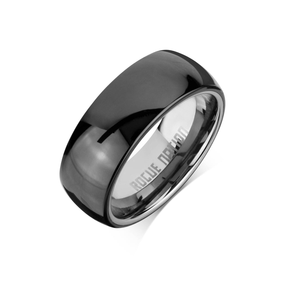 "Tungsten Carbide Mens Rings - Black Men's Ring, 8mm Rounded Tungsten, Comfort Fit Band - ""OCTAVIUS"""