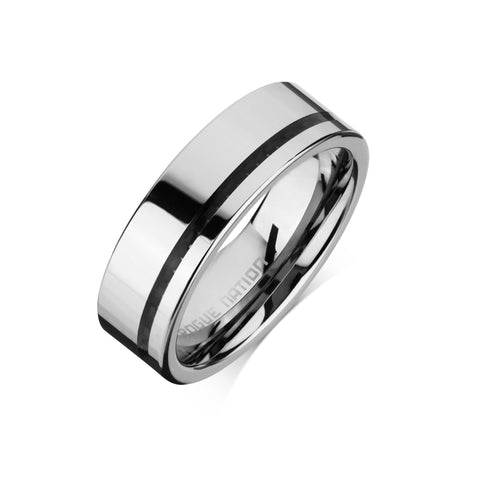 "Tungsten Carbide Mens Rings - Polished Men's Wedding Ring, 8mm Flat, Black Inlay, Tungsten, Comfort Fit Band - ""PACINO"""