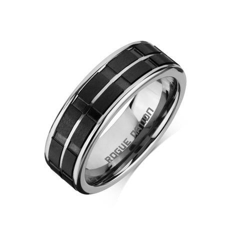 "Tungsten Carbide Mens Rings - Polished Men's Ring, 8mm Black Ceramic Inlay Tungsten, Comfort Fit Band - ""PARKER"""