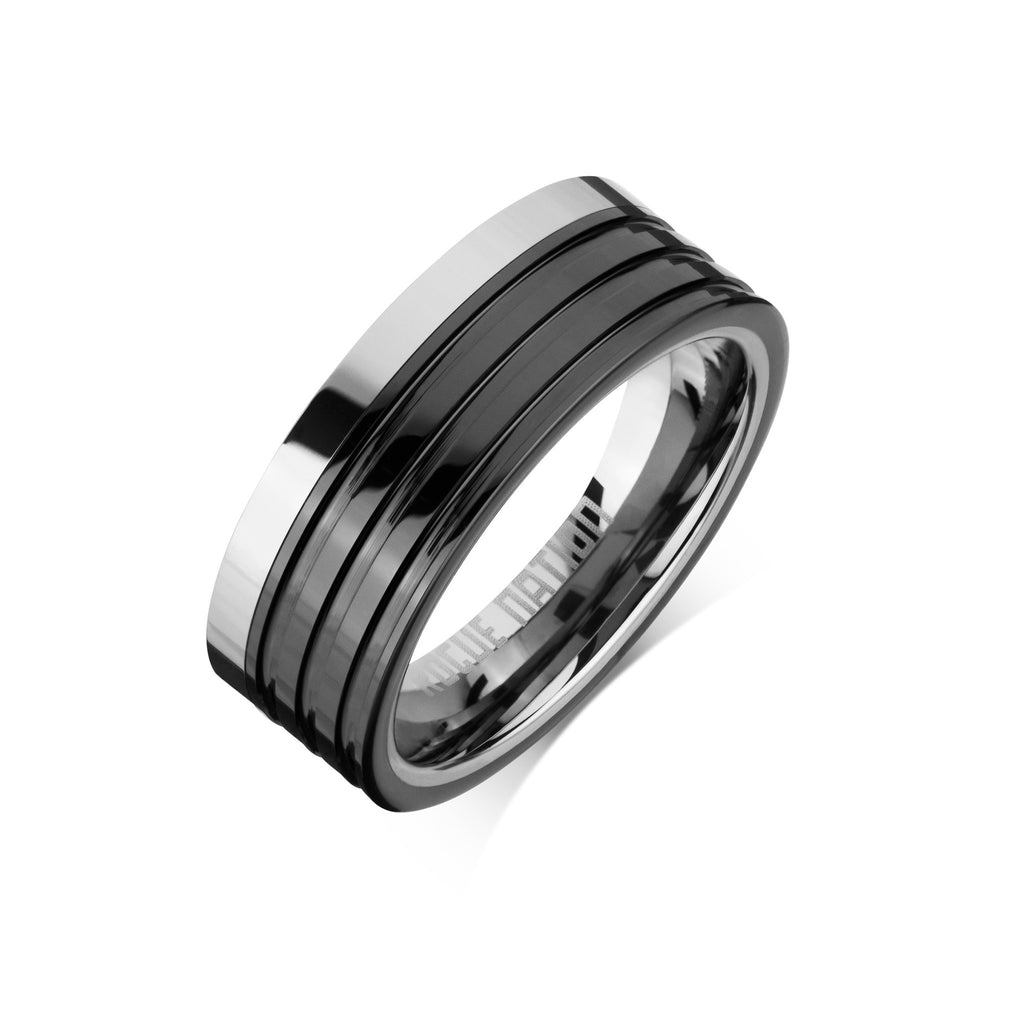 "Tungsten Carbide Mens Rings - Black Combo Men's Ring, 8mm Grooved Tungsten, Comfort Fit Band - ""PHOENIX"""