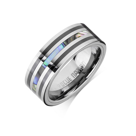 "Tungsten Carbide Mens Rings - Polished Men's Wedding Ring, 8mm Flat Tungsten, Shell Inlay, Comfort Fit Band - ""RYKER"""