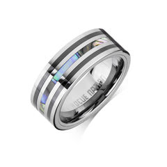 Tungsten Carbide Mens Rings - Polished Men's Wedding Ring, 8mm Flat Tungsten, Shell Inlay, Comfort Fit Band -