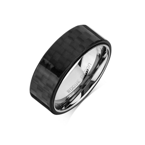 "Tungsten Carbide Mens Rings - Black Carbon Fiber Men's Ring, 8mm Flat Tungsten, Comfort Fit Band - ""SOLOMAN"""