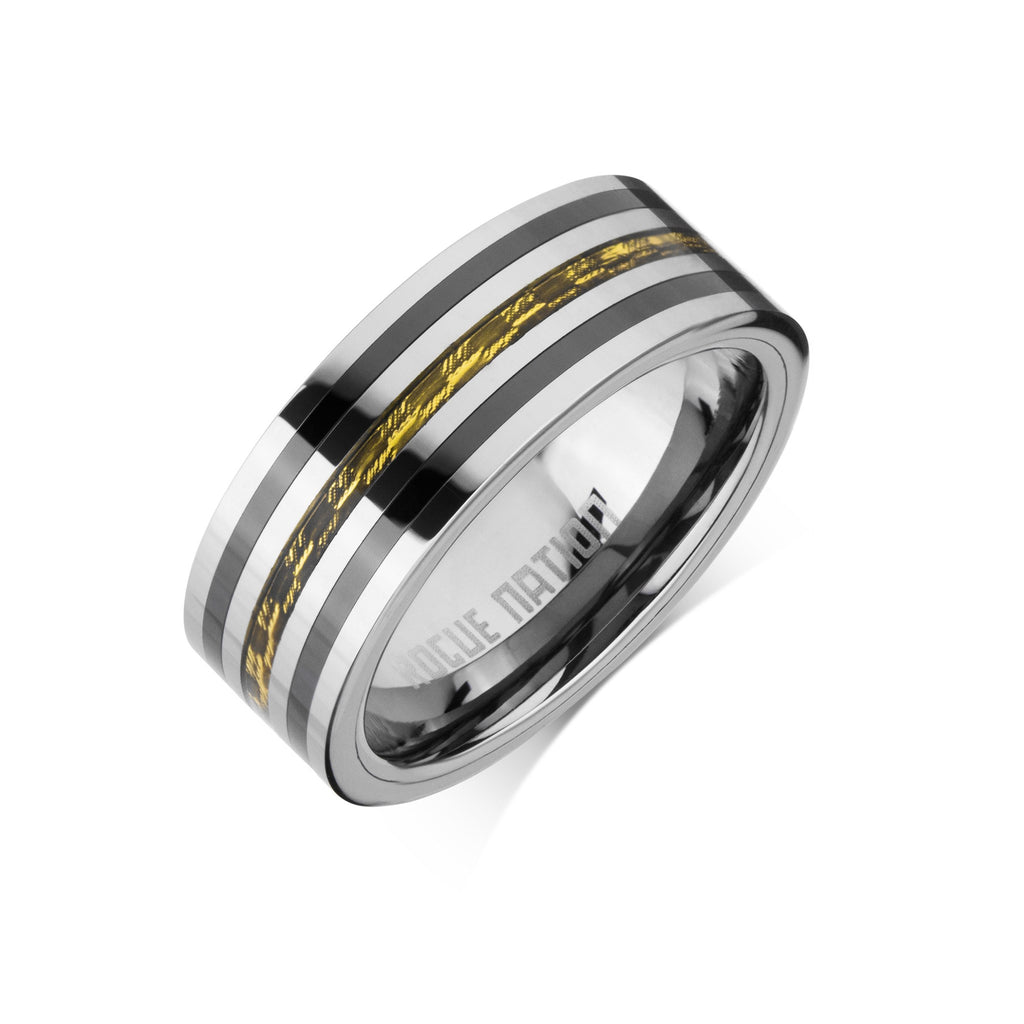Polished Mens Wedding Ring 8mm Flat Tungsten Carbon Fiber Inlay