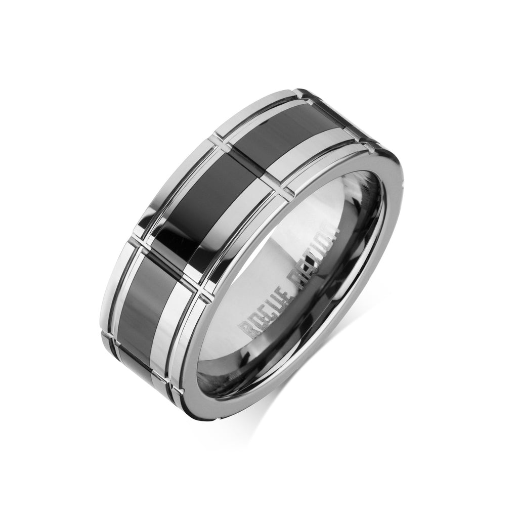 "Tungsten Carbide Mens Rings - Polished Men's Ring, 8mm Combo Black Ceramic Tungsten, Comfort Fit Band - ""VINNIE"""