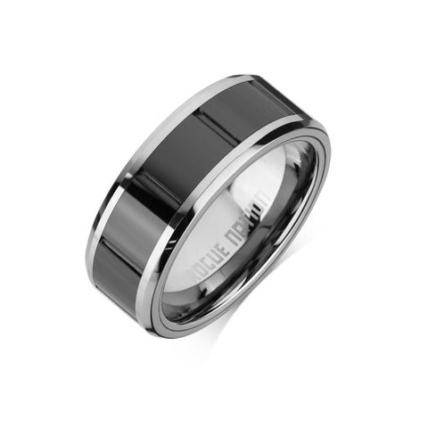 "Tungsten Carbide Mens Rings - Polished Men's Ring, 8mm Combo Black Ceramic Tungsten, Comfort Fit Band - ""XANDER"""