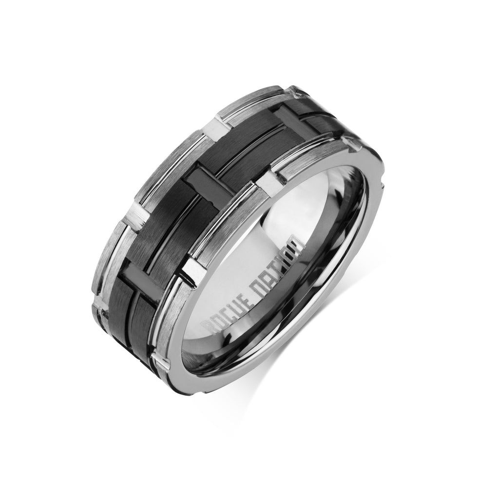 "Tungsten Carbide Mens Rings - Polished Men's Ring, 8mm Combo Black Ceramic Tungsten, Comfort Fit Band - ""ZANE"""
