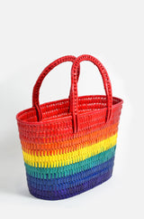 Shopper in Pride Colors, Natural Sundried - Palmera Leaf, Lacquer Finish