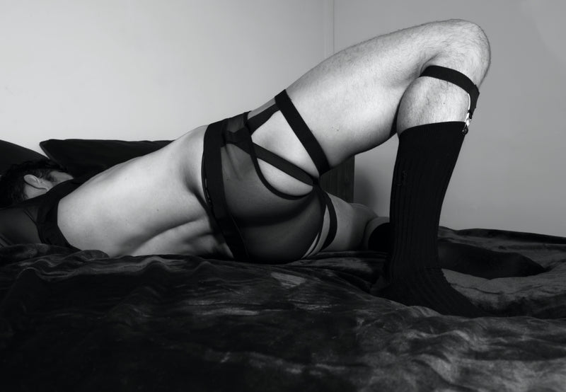 Brief With Garters - Black, Fine Mesh
