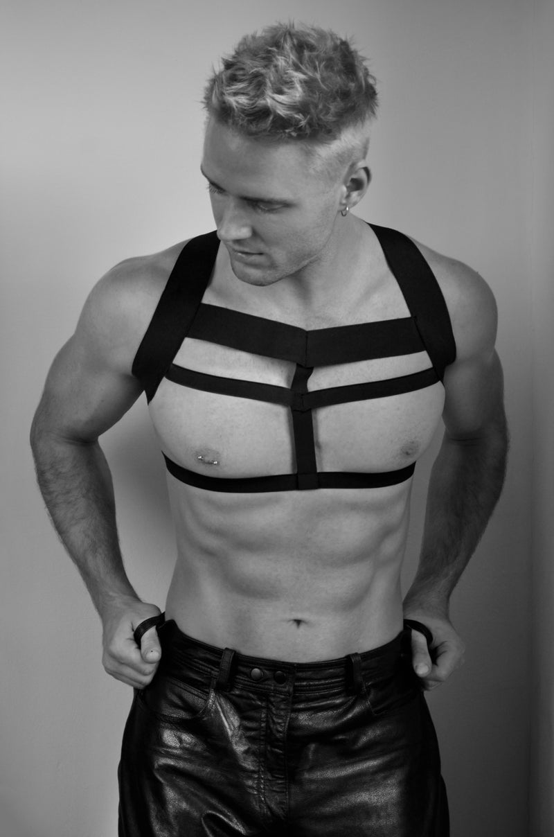 Harness, Gladiator Set - Black, Woven Finish Elastics
