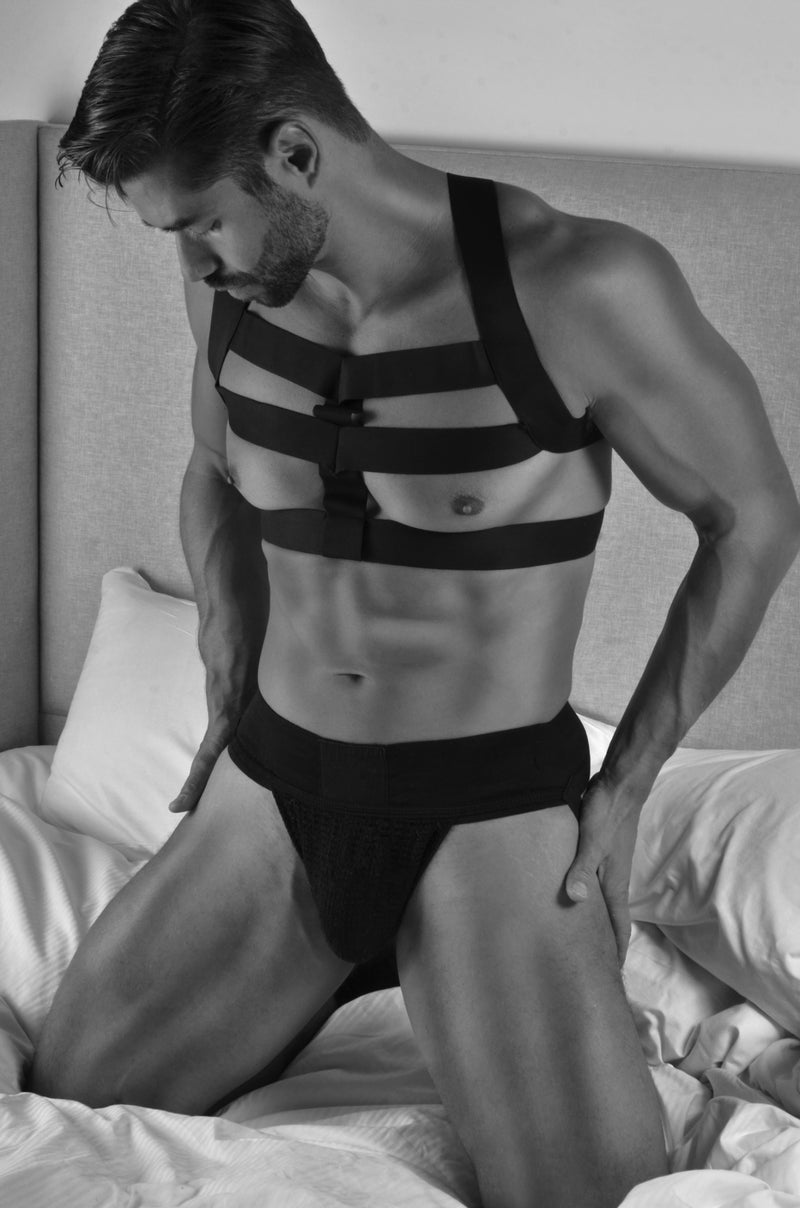 Chest Harness, Gladiator Pro Sport - Black, Satin Finish Elastics