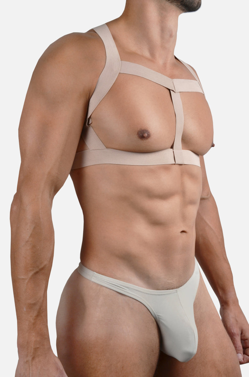 Chest Harness - Nude, Woven Finish Elastics