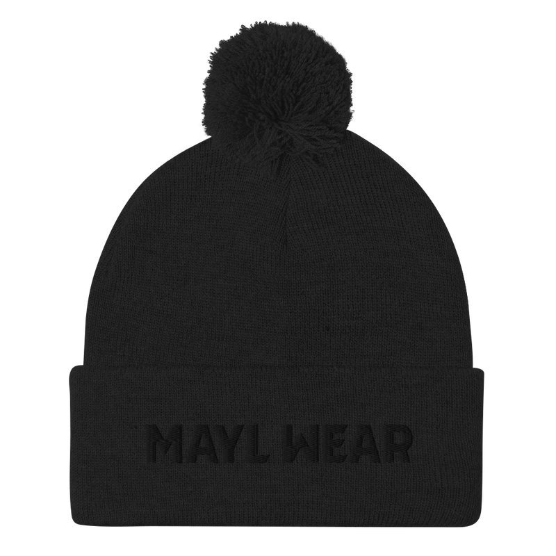 MAYL Wear Classic - Pom-Pom Beanie With Logo - Embroidered
