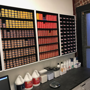 Hair salon dispensary hair color organization.
