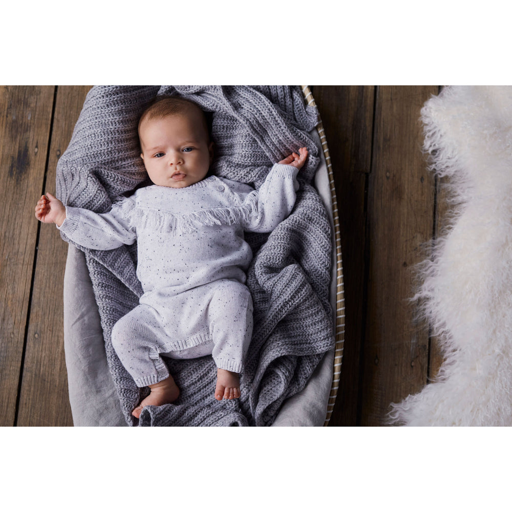 Wilson & Frenchy | Grey Speckle Knitted Growsuit