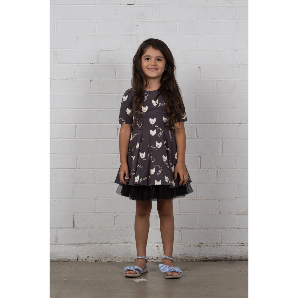 Hootkid | The Eloise Dress - Meow Cat - Size 3 LAST ONE
