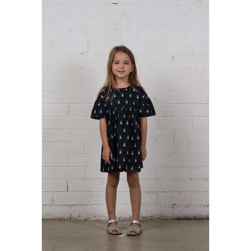 Hootkid | Afternoon Dress - Navy Pineapple - Size 5 LAST ONE