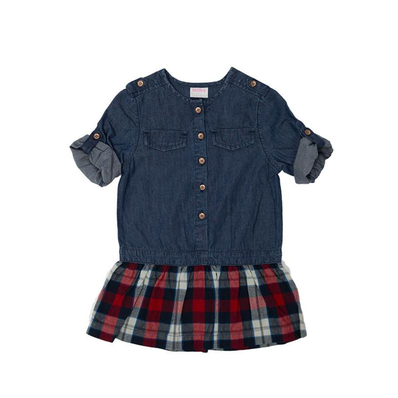 Milky | Denim Check Dress - Size 0 LAST ONE