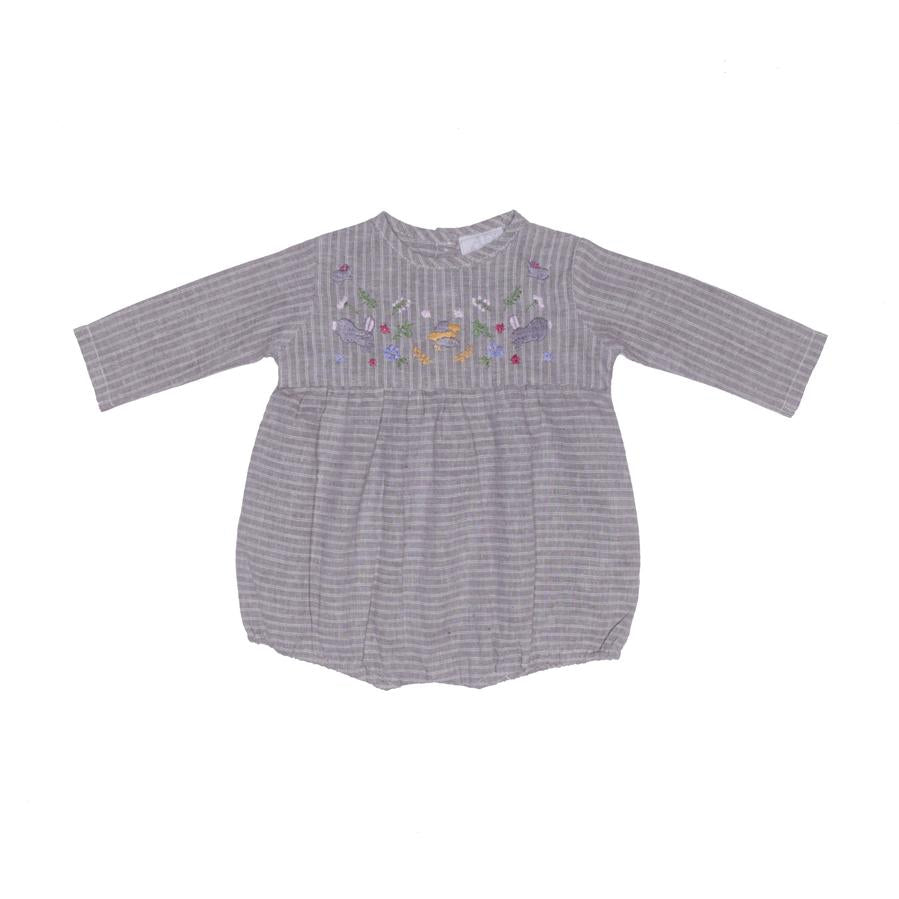 ALEX & ANT | Emma Embroidery Onesie - Hemp Stripe Natural - LAST TWO