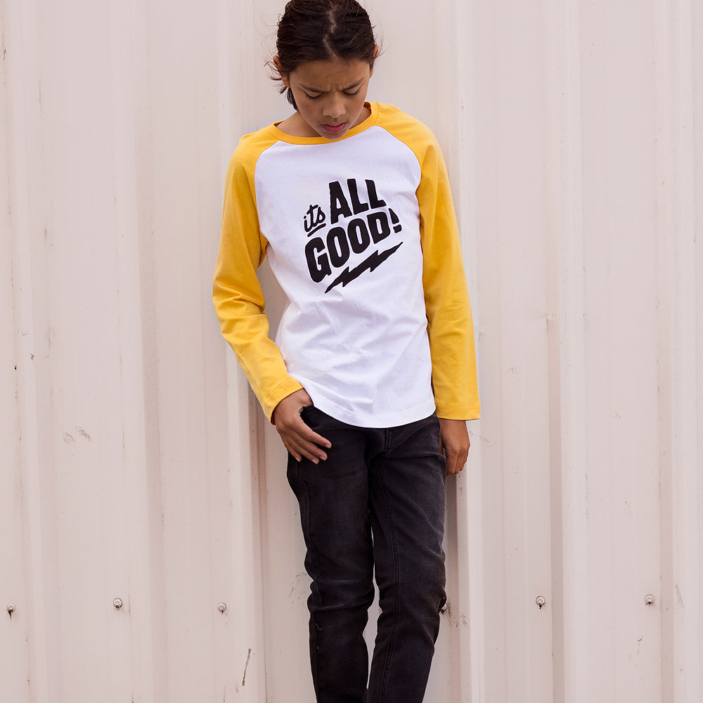 Alphabet Soup | All Good Long Sleeve Tee - White/Mustard - Size 4 LAST ONE