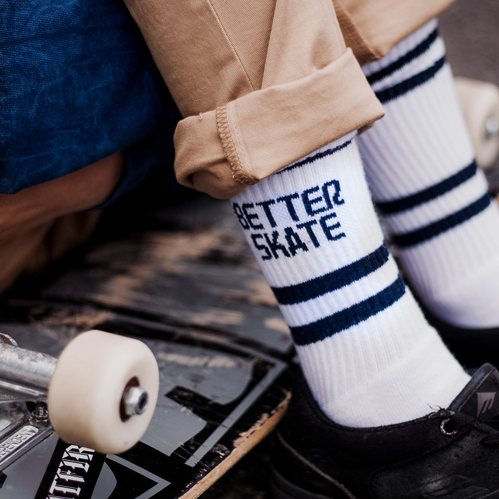 Alphabet Soup | Better Skate Sock - White/Navy