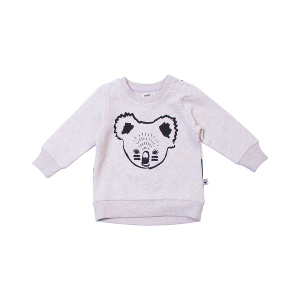 Milk & Masuki | Crew Neck Jumper - Koala - Grey Marle - Size 000 LAST ONE