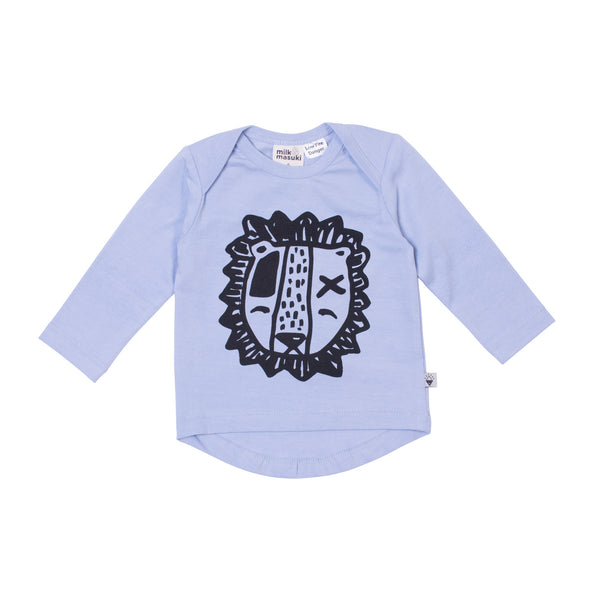 Milk & Masuki | Baby Long Sleeve Tee - Lion - Blue - Size 000-2