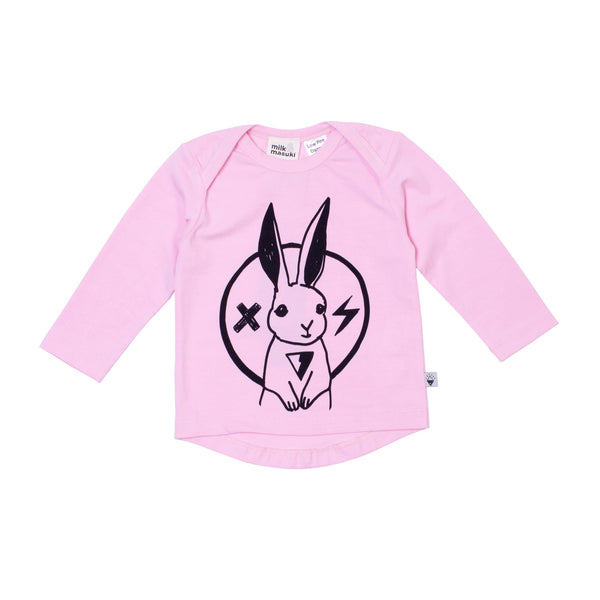 Milk & Masuki | Baby Long Sleeve Tee - Rabbit Rockstar - Pink - Size 000-2