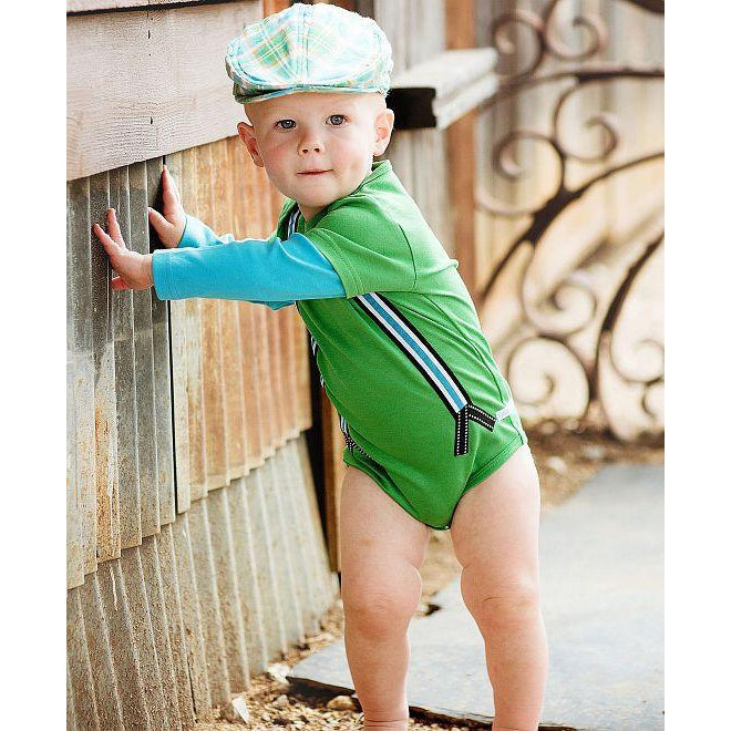 RuggedButts Green Suspender Bodysuit - LAST TWO