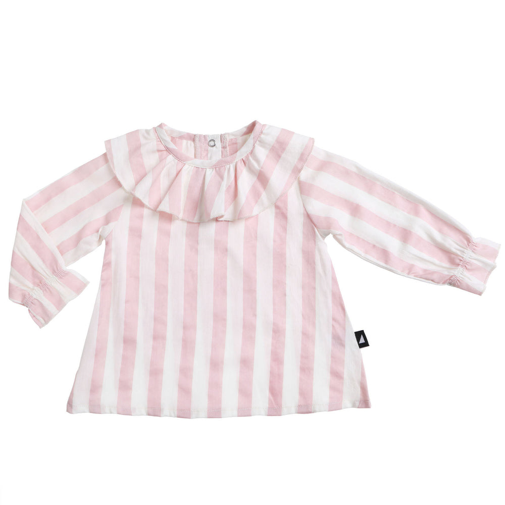 Anarkid | Block Stripe Woven Frill Neck Smock - Blush - Size 2 & 4 LAST ONES