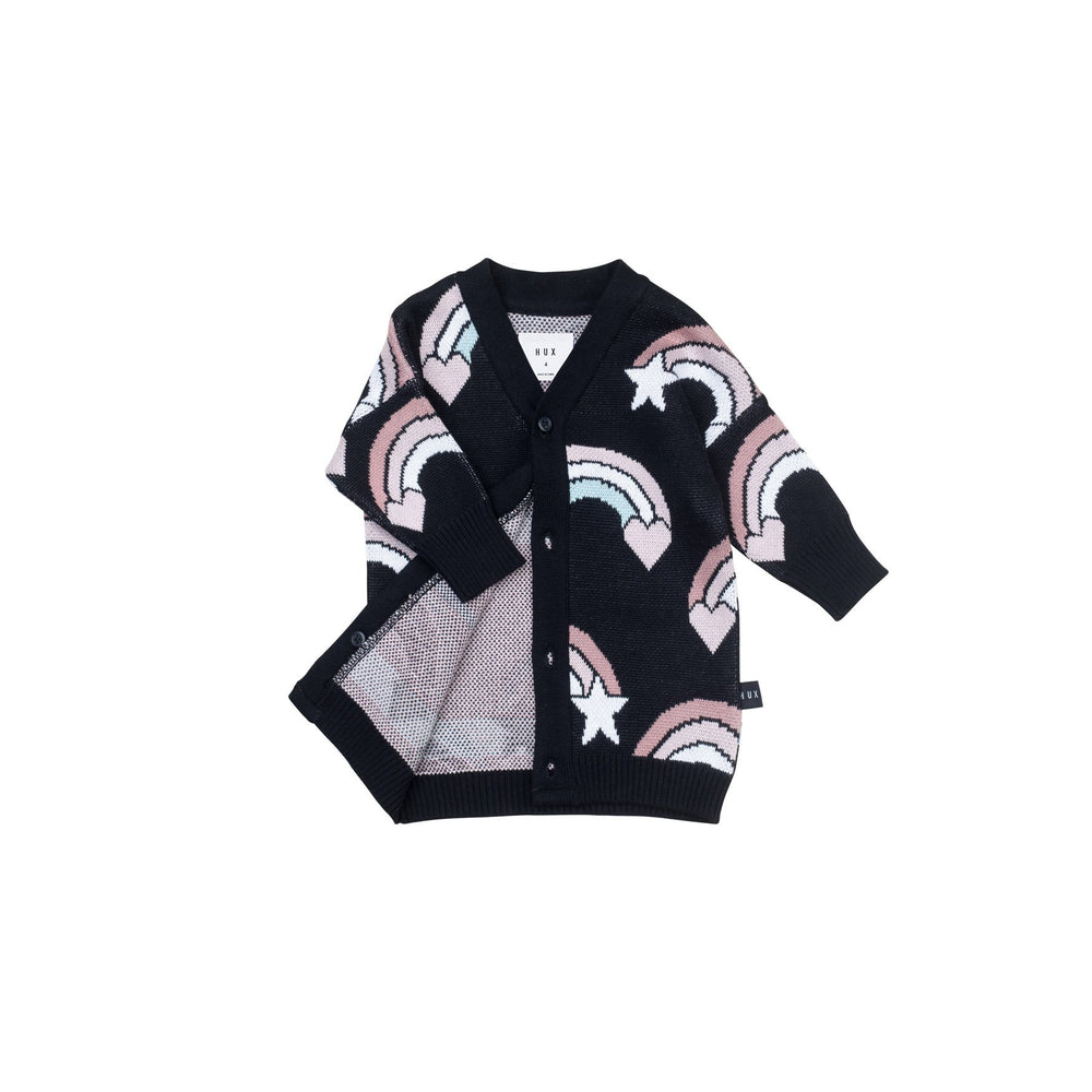 Huxbaby | Rainbow Knit Cardi - Black