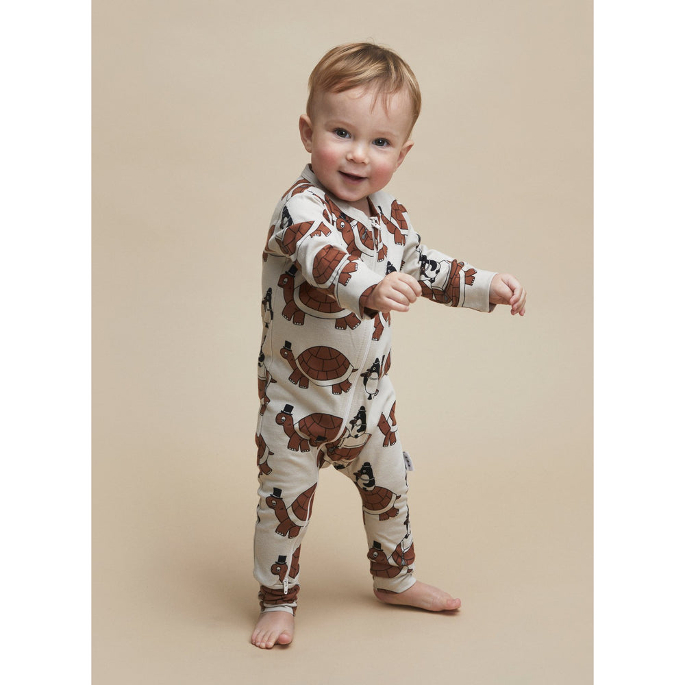 Huxbaby | Turtle Tour Zip Romper - Almond - LAST ONE