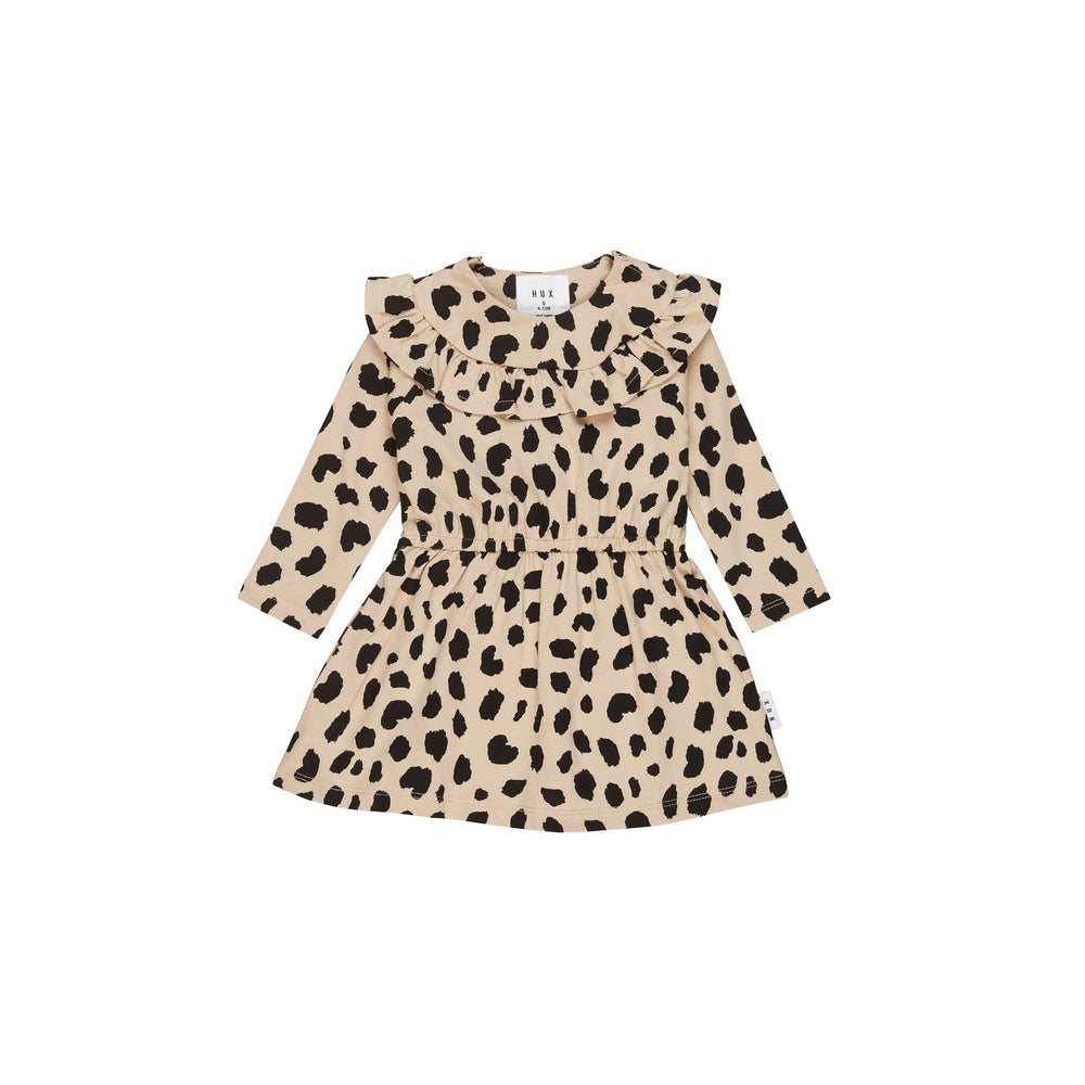 Huxbaby | Animal Spot Long Sleeve Dress - Sand - LAST ONE