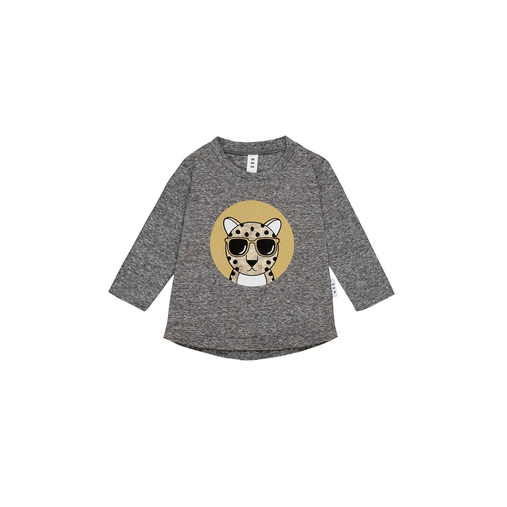 Huxbaby | Leopard Top - Charcoal Slub - LAST TWO
