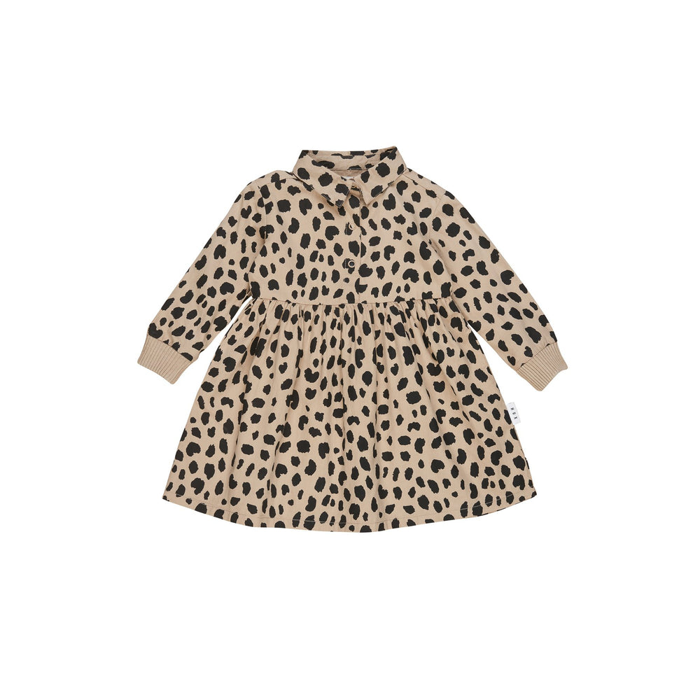 Huxbaby | Animal Spot Shirt Dress - Sand - LAST ONE