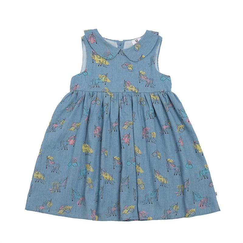 Hootkid | Ella Dress - Chambray Unicorn