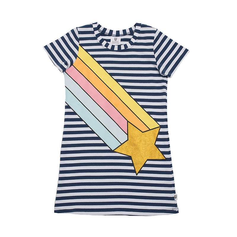 Hootkid | Rainbow Galaxy Dress - Washed Navy Stripe - Size 7 LAST ONE