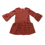 Hootkid | Here She Comes Dress - Red with Mustard Hearts