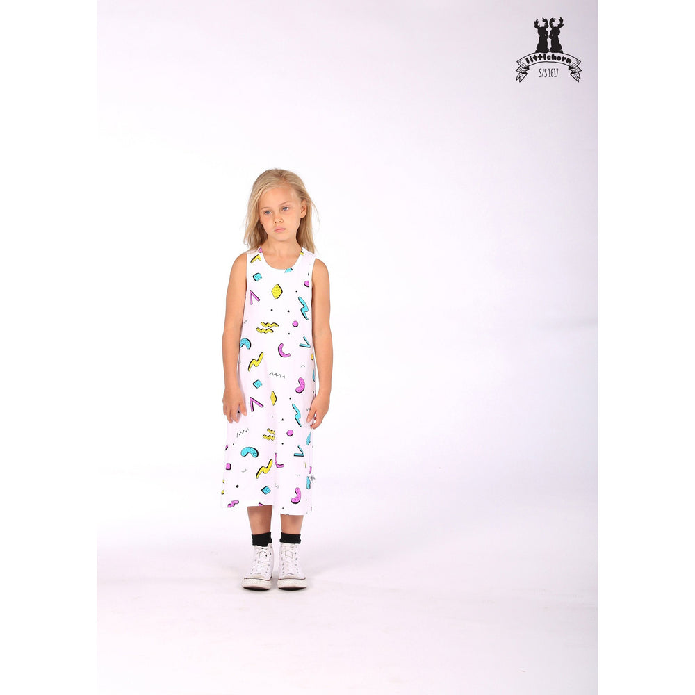 Littlehorn | Confetti Midi Tank Dress - White - LAST TWO