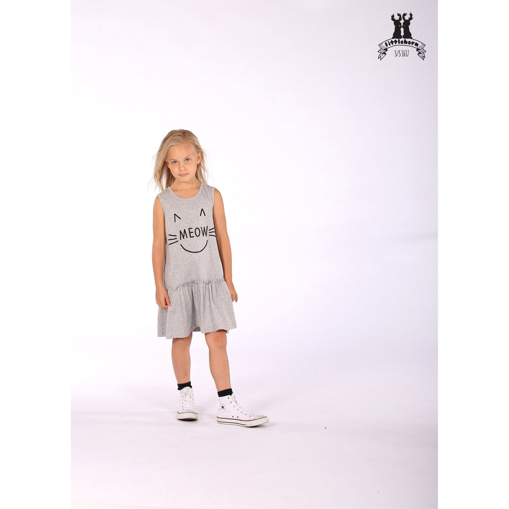 Littlehorn | Meow Day Dress - Grey Marle - Size 2 LAST ONE