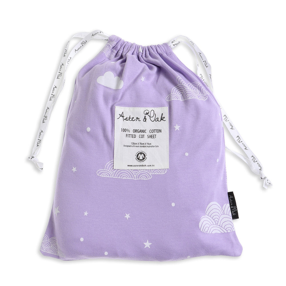 Aster & Oak | Lilac Cloud Print Fitted Cot Sheet - LAST TWO