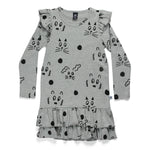 Littlehorn | Yogi Friends Frill Dress - Grey Marle - Size 1 LAST ONE