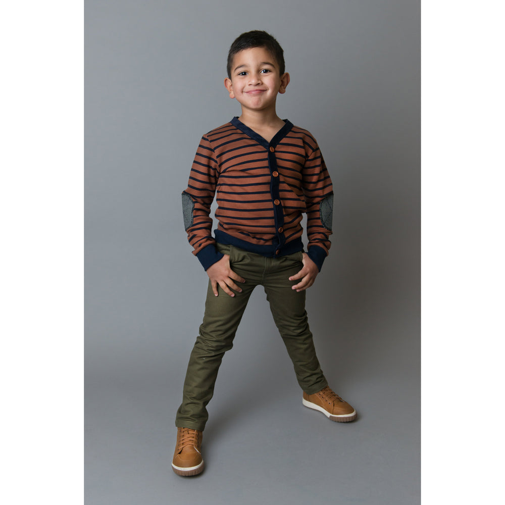 Love Henry | Bobby Cardigan Tee - Brown and Navy