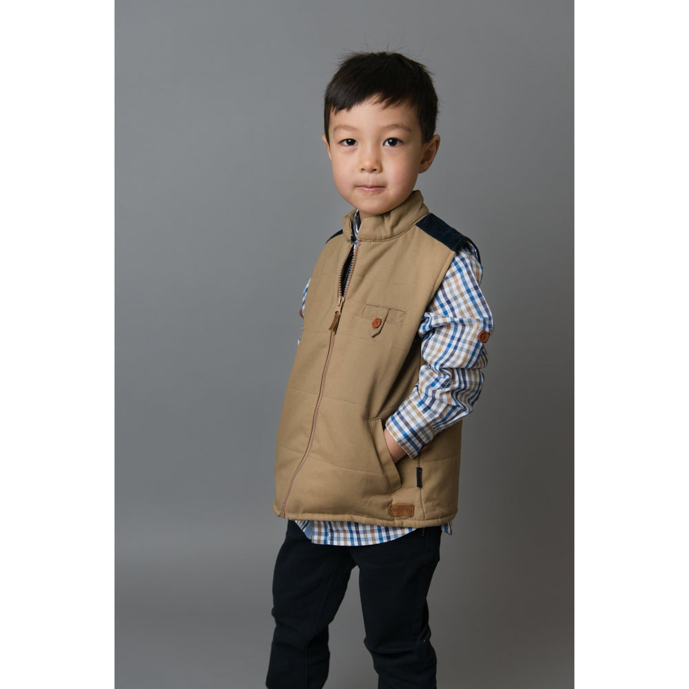 Love Henry | Cooper Quilted Vest - Tan