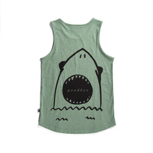 Minti | Hello Goodbye Shark Singlet - Size 8 LAST ONE