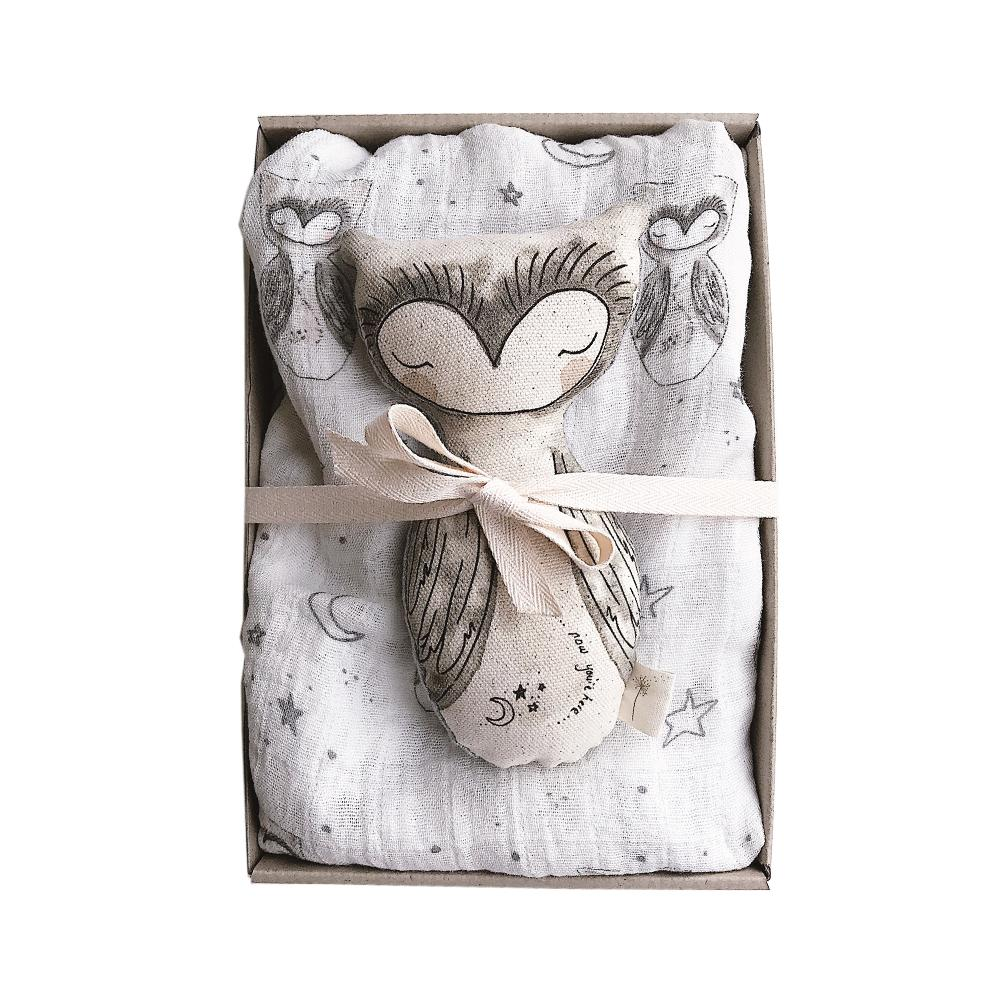 These Little Treasures | Baby Swaddle & Rattle Gift Box - Owl